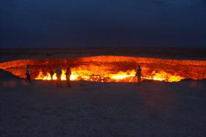 DARVAZA GAS CRATER IN DERWEZE, TURKMENISTAN