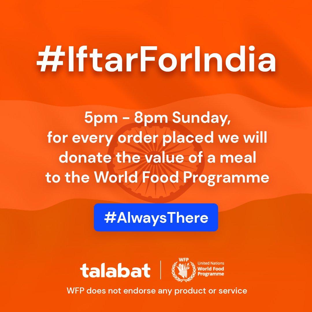 talabat: Iftar for India, Sunday June 9th