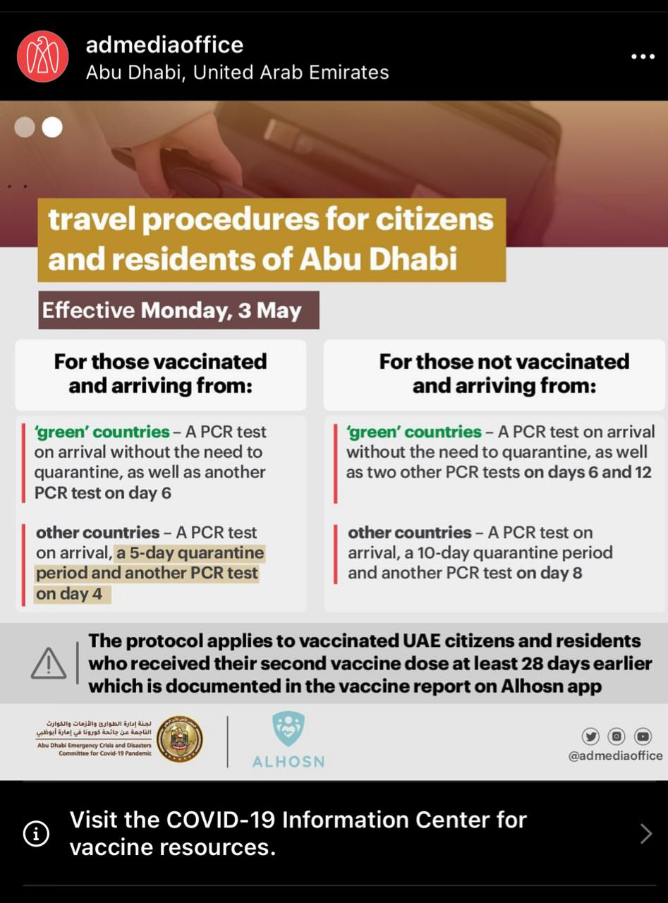 Abu Dhabi: Updated Travel Procedures for Vaccinated Citizens and Residents